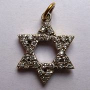 9ct Gold Cubic Zirconia Star of David pendant 2.3g